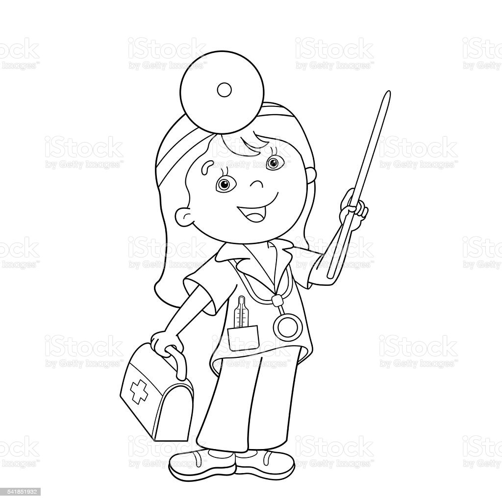 coloring page outline of cartoon doctor with first aid kit royalty free stock vector art