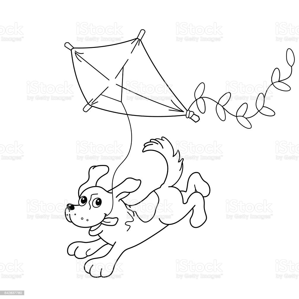 Coloring pages kite - Coloring Page Outline Of Cartoon Dog With A Kite Royalty Free Stock Vector Art