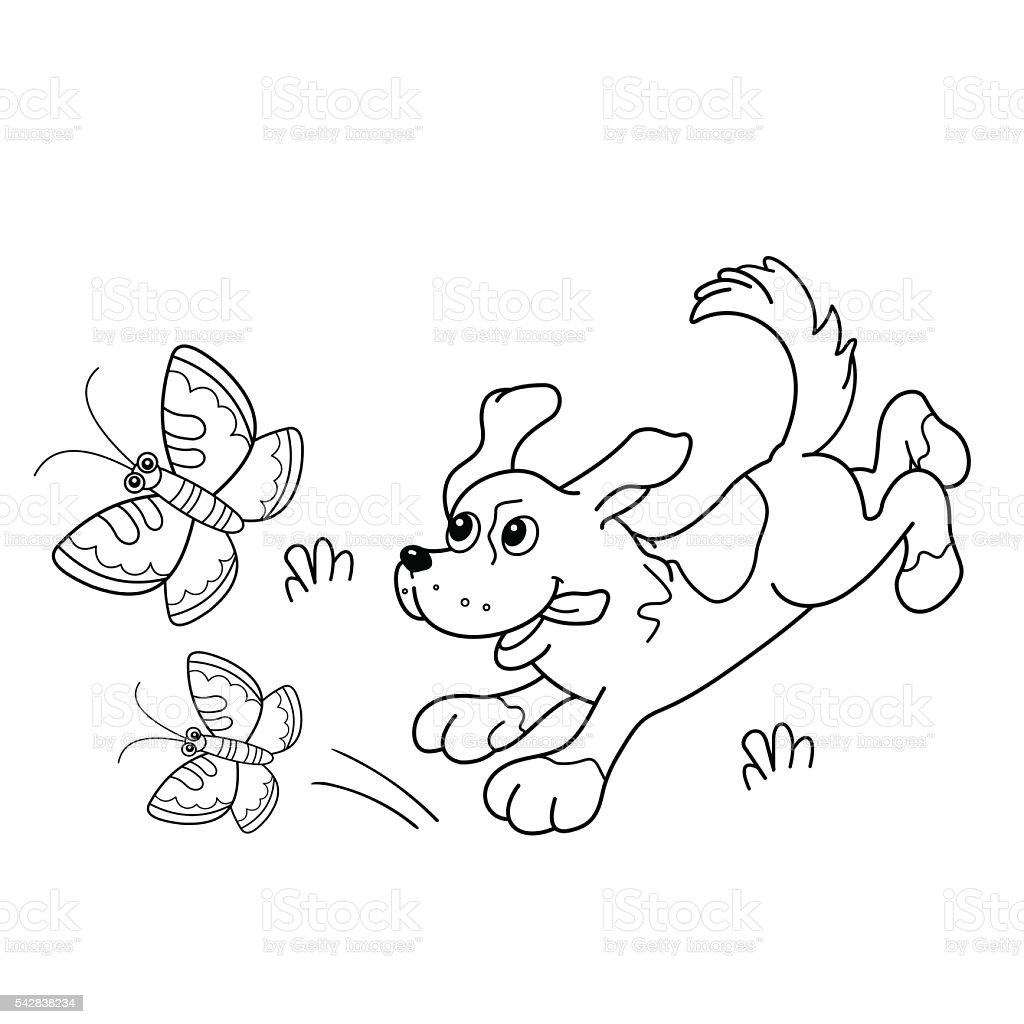 coloring page outline of cartoon dog with butterflies stock vector