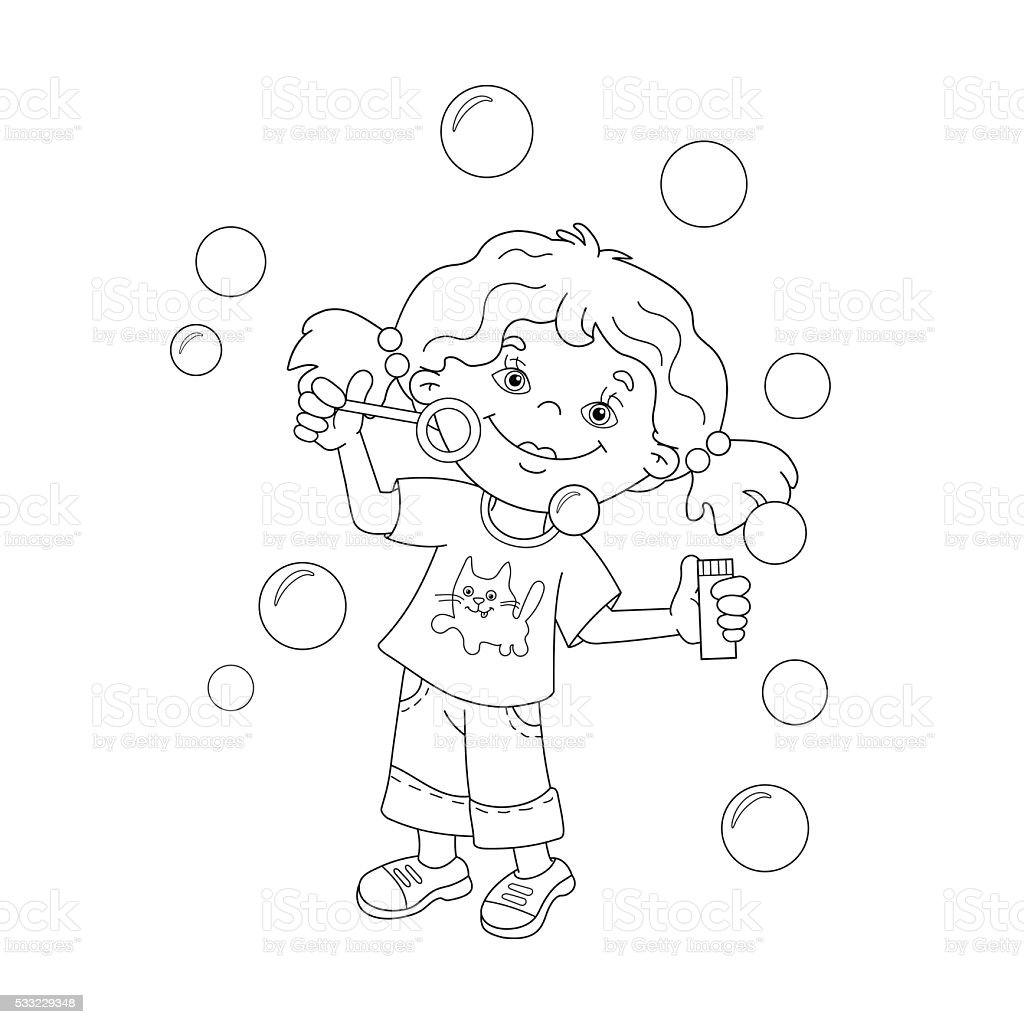 coloring page outline of cartoon girl blowing soap bubbles royalty free stock vector art