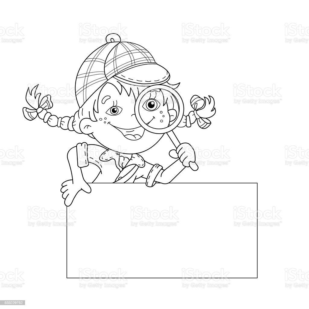 Page contour de coloriage de dessin animé fille détective avec loupe stock vecteur libres de droits