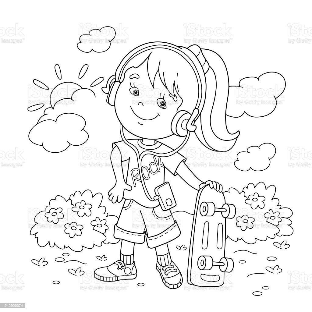 Contour de Page de coloriage de dessin animé fille dans les écouteurs avec mon skateboard stock