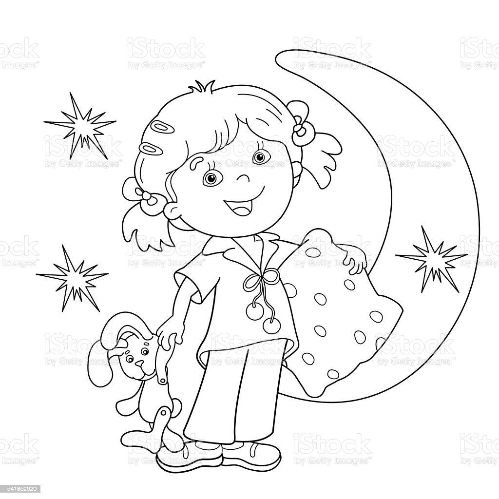 Contour de Page de coloriage de dessin animé fille en pyjama avec matelas stock vecteur libres