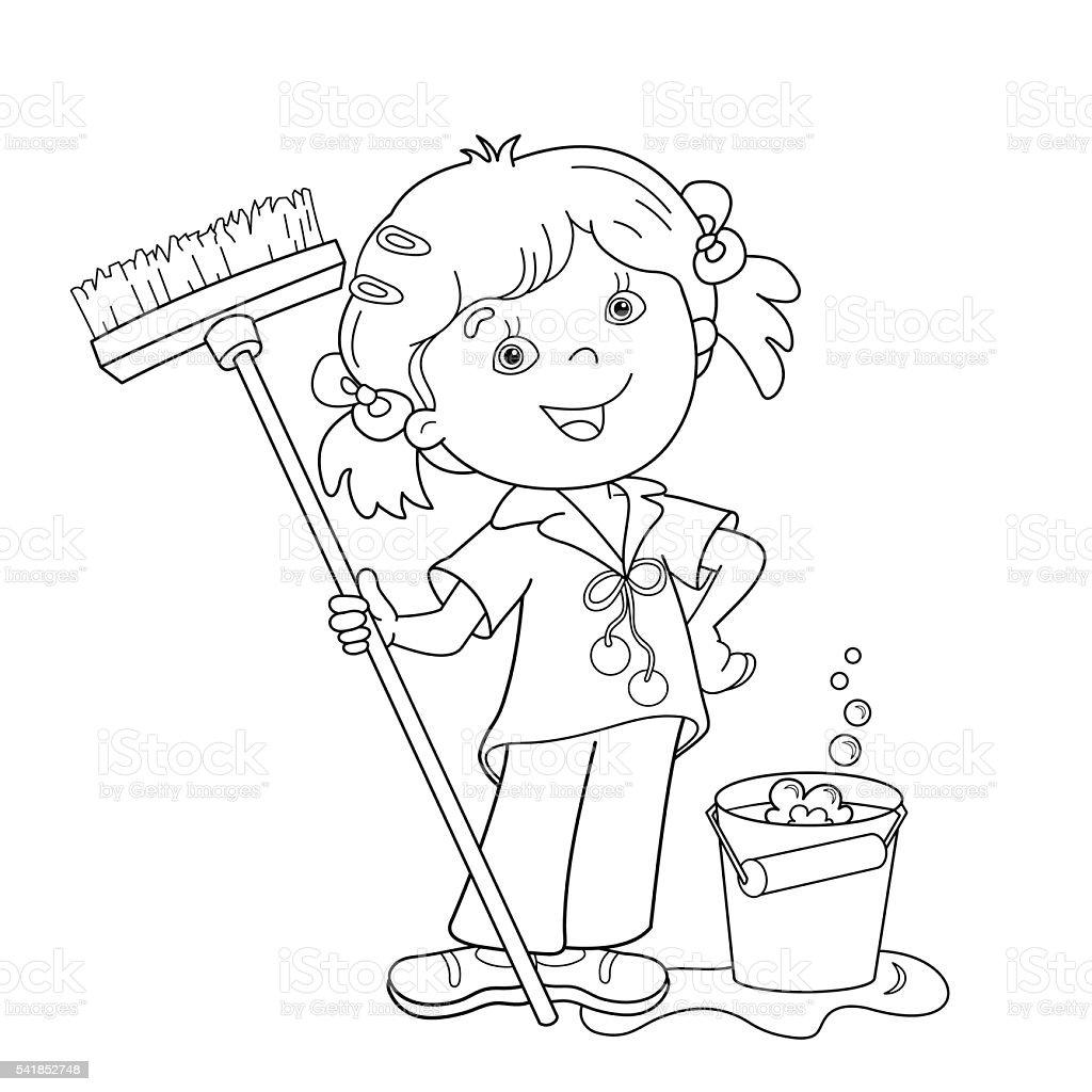 Contour de Page de coloriage de dessin animé fille avec serpilli¨re et seau stock vecteur libres