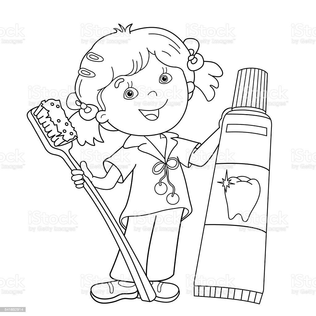 Contour de Page de coloriage de dessin animé fille avec brosse  dents et dentifrice