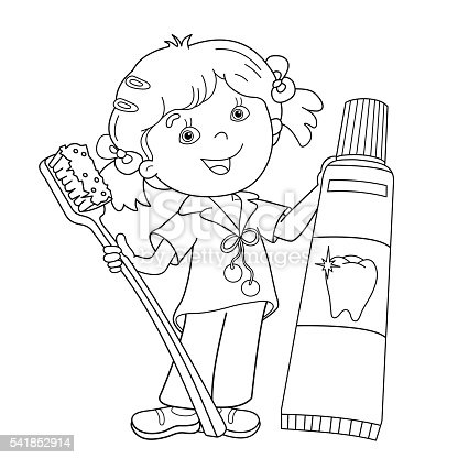 Coloring Page Outline Of Cartoon Girl With Toothbrush And