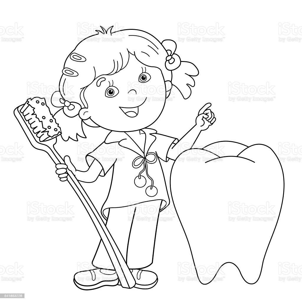 Contour de Page de coloriage de dessin animé fille avec brosse  dents stock vecteur libres