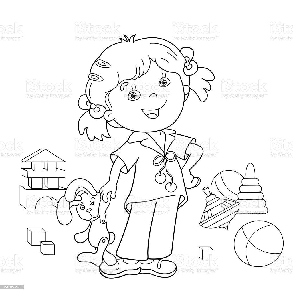 Contour de Page de coloriage de dessin animé fille avec des jouets stock vecteur libres de