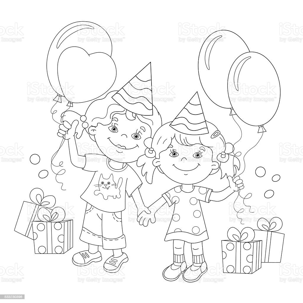 coloring page outline of cartoon girls with a gift stock vector