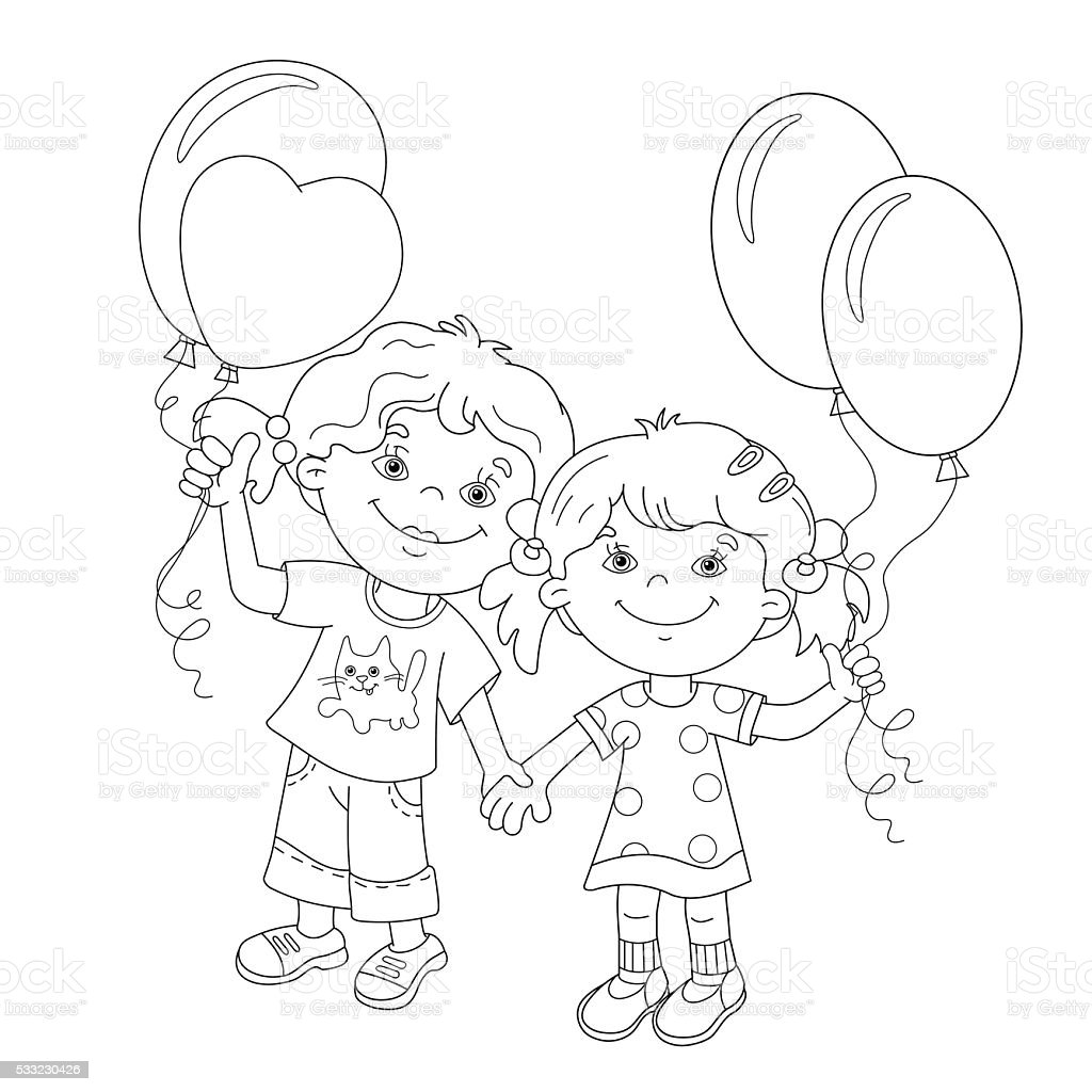 coloring page outline of cartoon girls with balloons stock vector