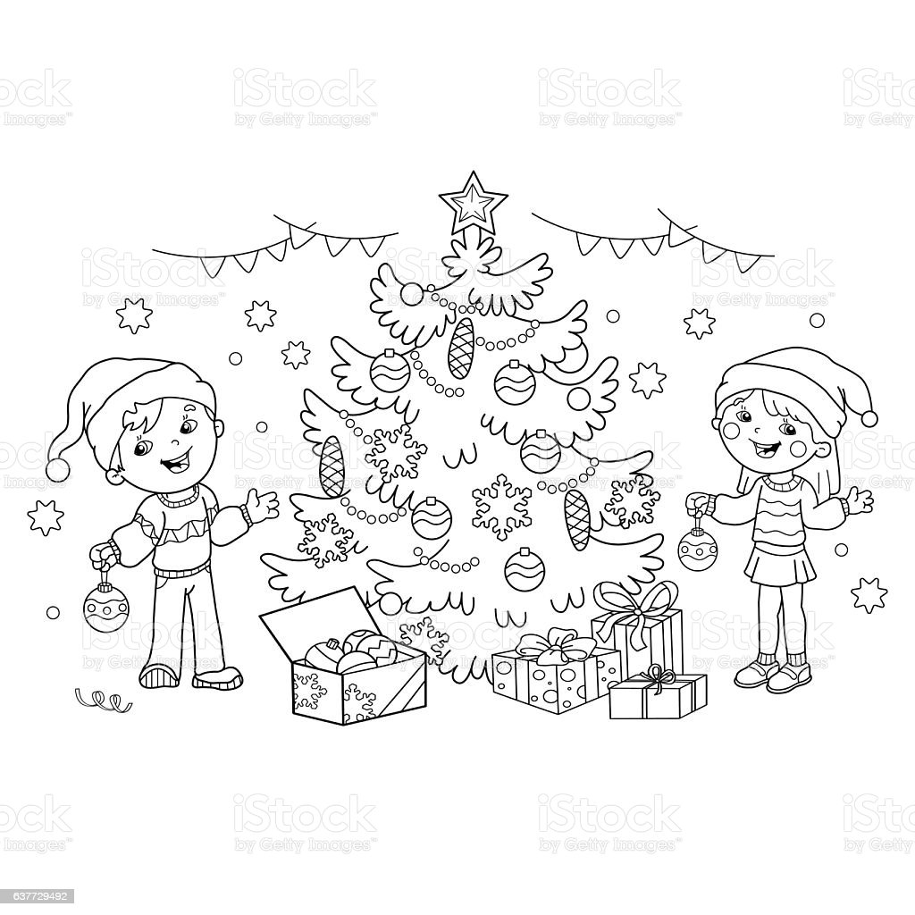 coloring page outline of children with gifts at christmas tree