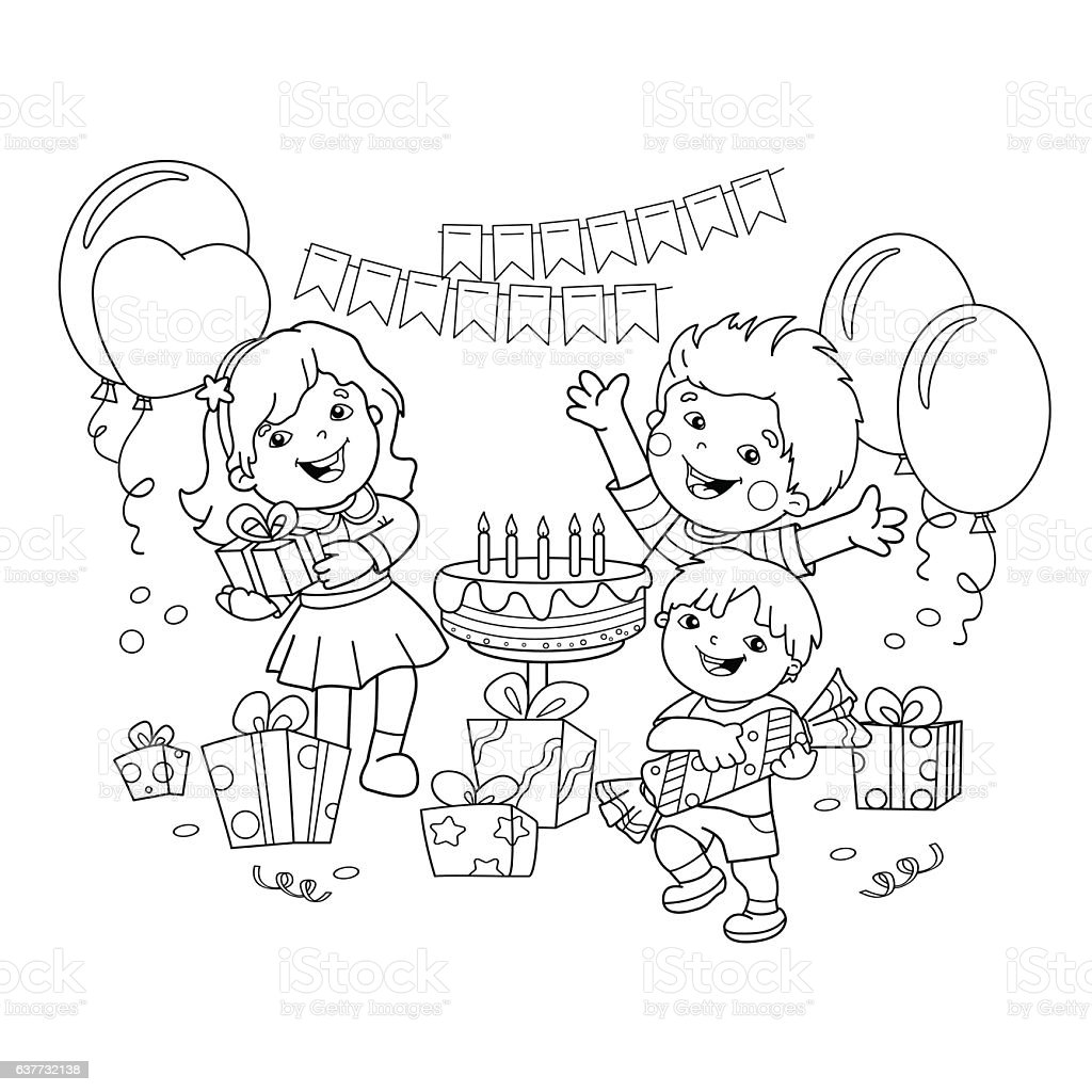 coloring page outline of children with gifts at the holiday stock