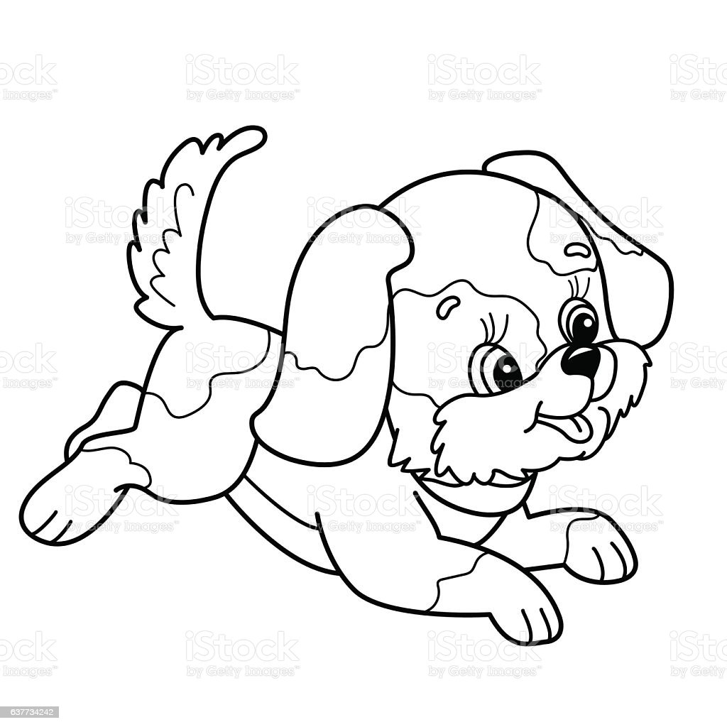 coloring page outline of cute puppy cartoon dog jumping stock