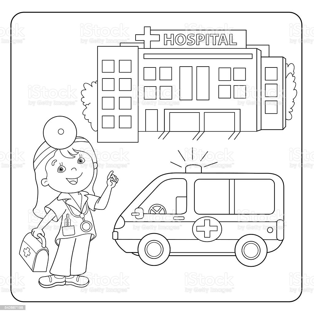 Free coloring pages hospital - Coloring Page Outline Of Doctor Ambulance Car Hospital Royalty Free Stock Vector Art