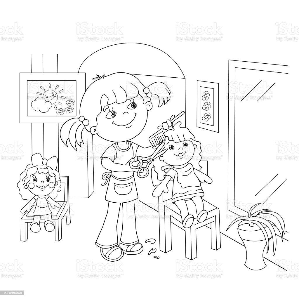 Contour de Page de coloriage de fille jouant dans le salon de coiffure pour hommes stock