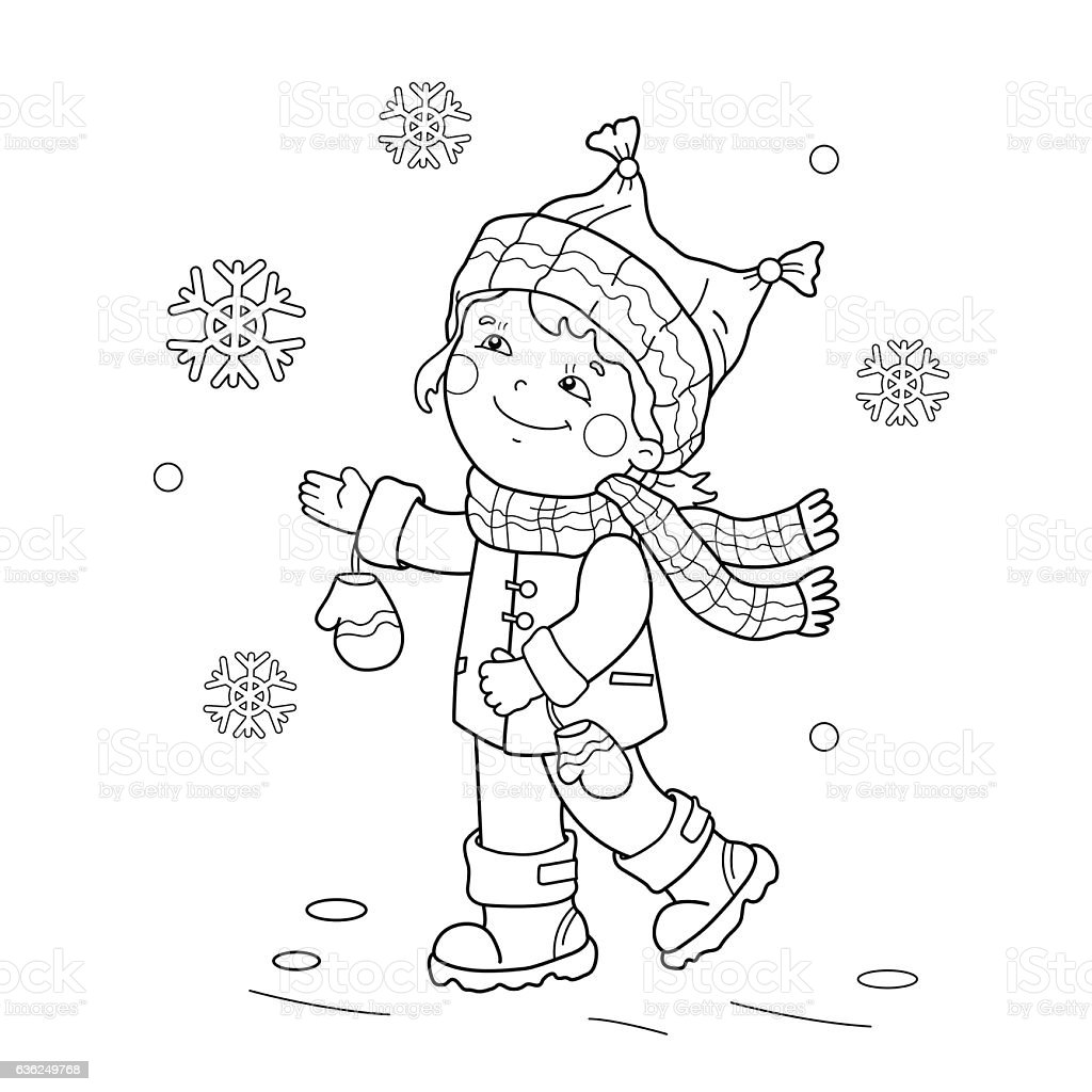 Coloring Page Outline Of Girl Rejoicing In Thirst Snow stock
