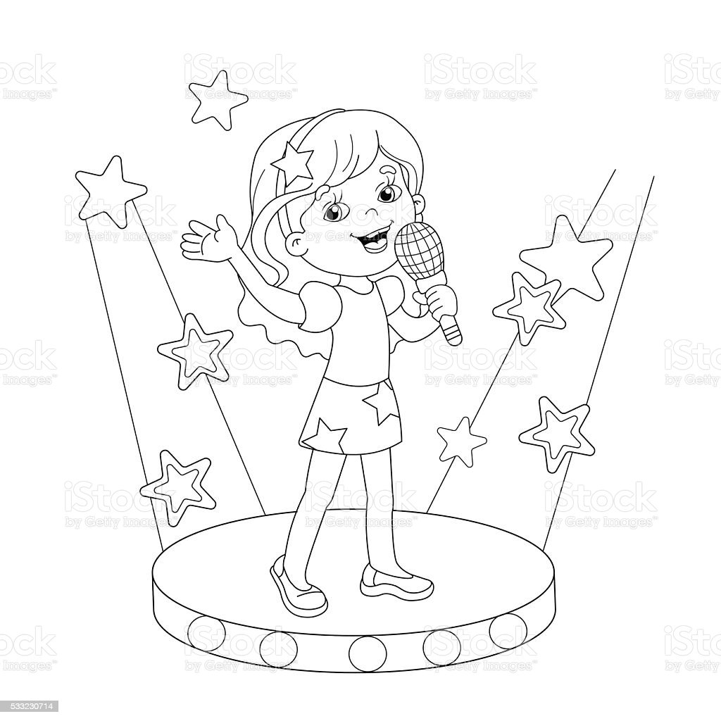 coloring page outline of singing a song on stage stock vector