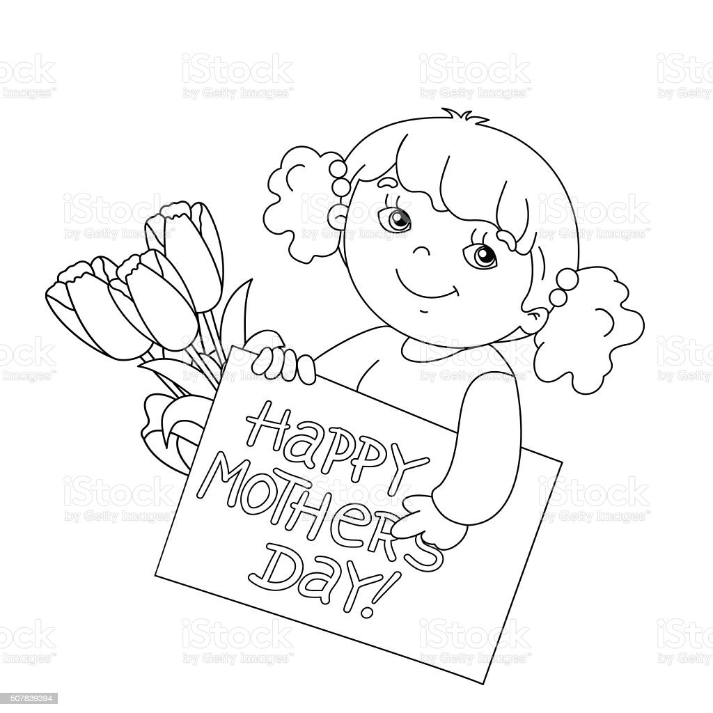 coloring page outline of with card for mothers day stock