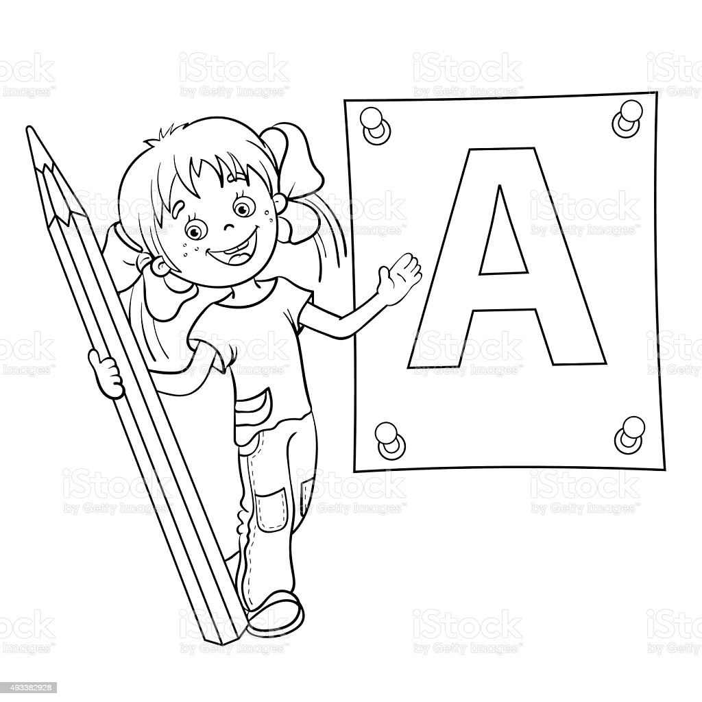 coloring page outline of with pencil and large letter stock