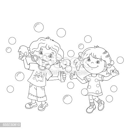 Coloring page outline of girls blowing soap bubbles for Bubbles guppies da colorare