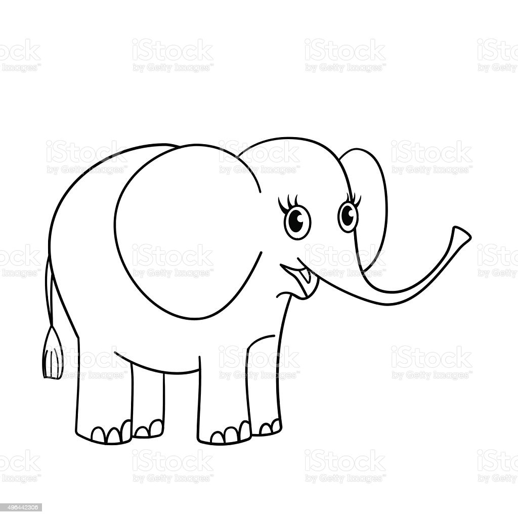 coloring page outline of nice small elephant stock vector art
