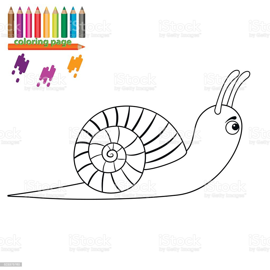 coloring page snail cartoon style stock vector art 523375760 istock