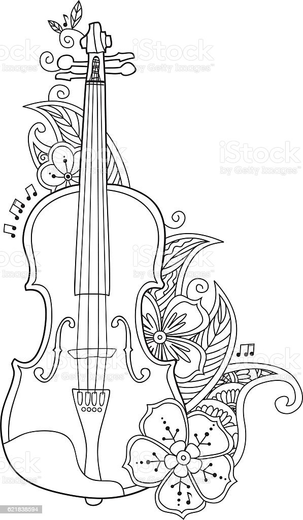 coloring page violin with flowers and leafs stock vector art ... - String Instrument Coloring Pages