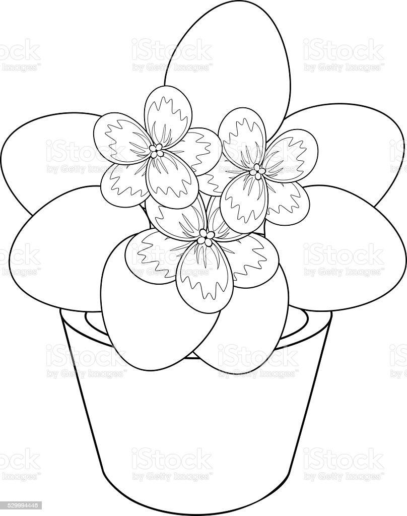 violet flower coloring page - belle pot de fleur coloriage