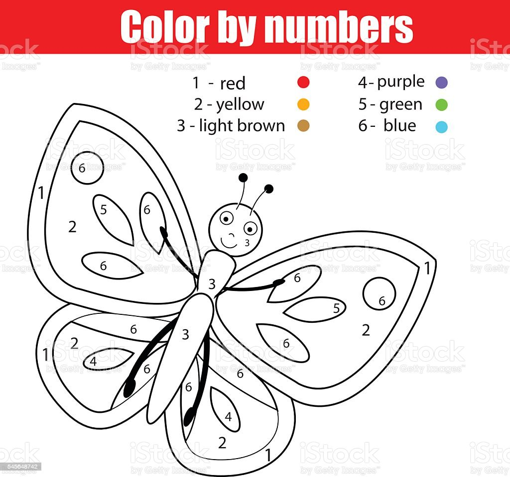 Coloring page with butterfly. Color by numbers  drawing kids activity vector art illustration