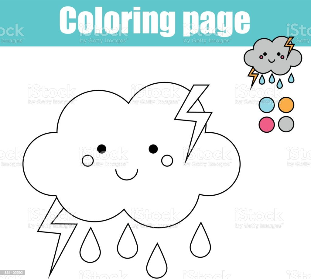 coloring page with cute cloud character educational game printable