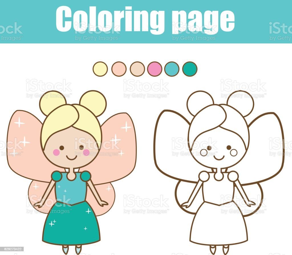 coloring page with cute fairy character color by numbers