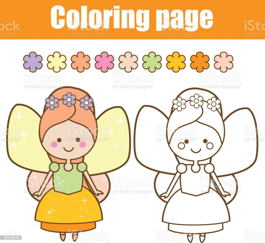 coloring page with cute fairy character in kawaii style drawing