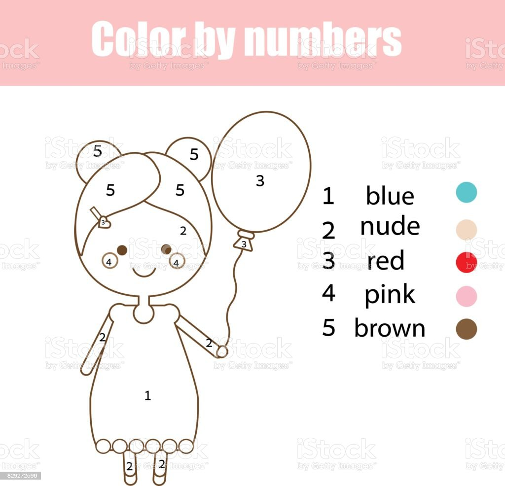 coloring page with cute character color by numbers