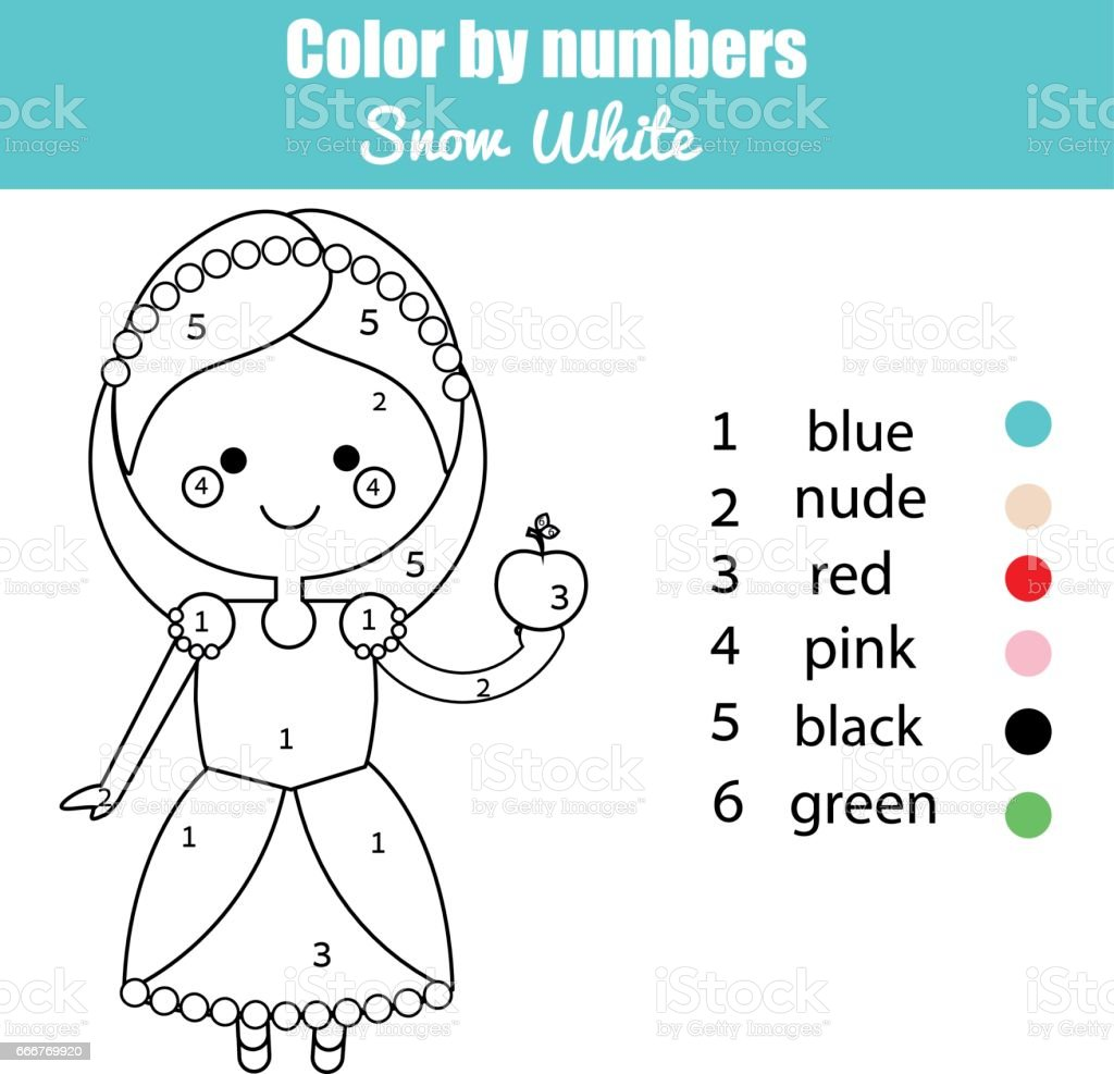 Game color by numbers - Coloring Page With Cute Snow White Fairy Tale Princess Character Color By Numbers Educational Children