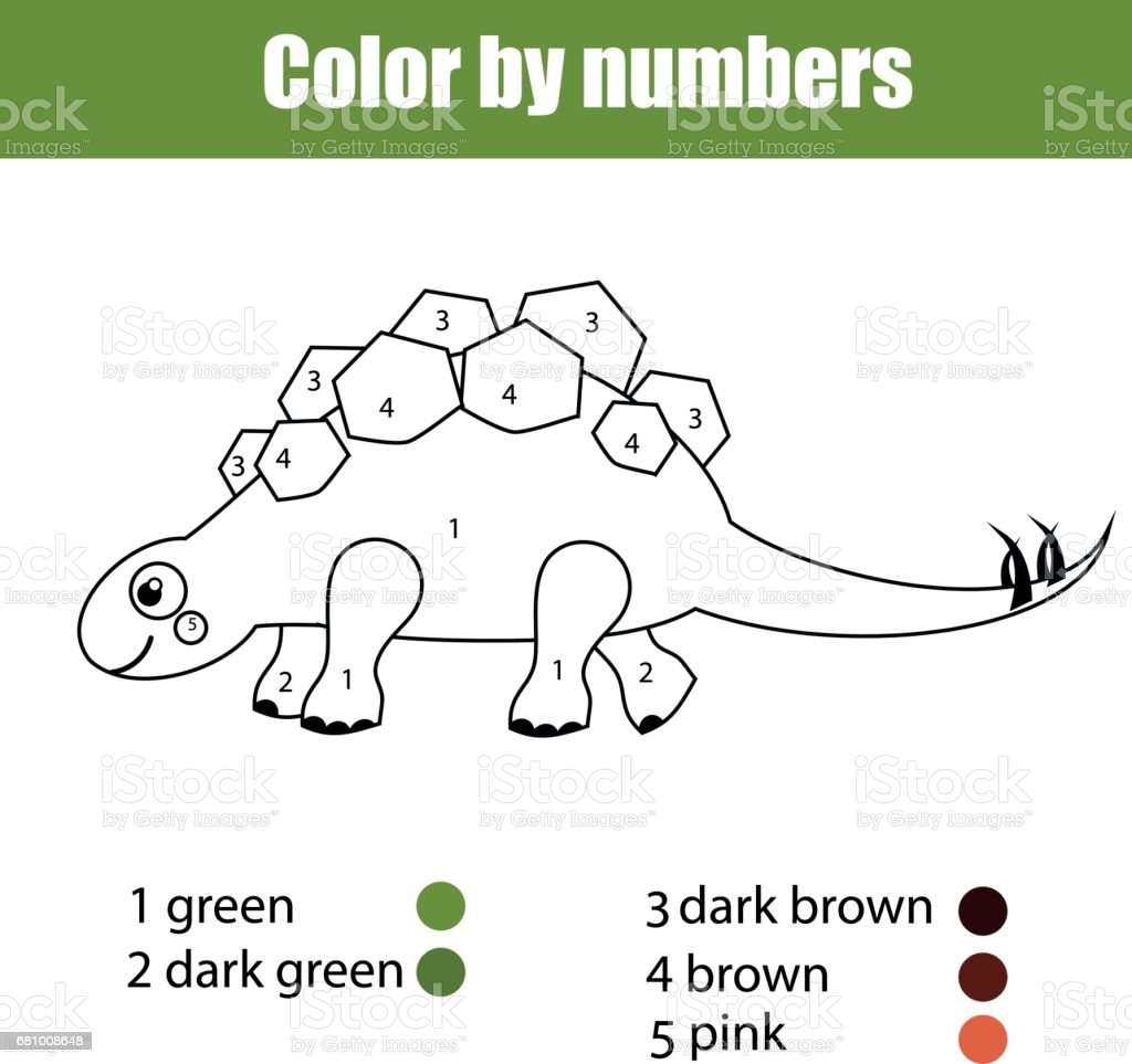 Game color by numbers - Coloring Page With Dinosaur Stegosaurus Color By Numbers Educational Children Game Drawing Kids Activity