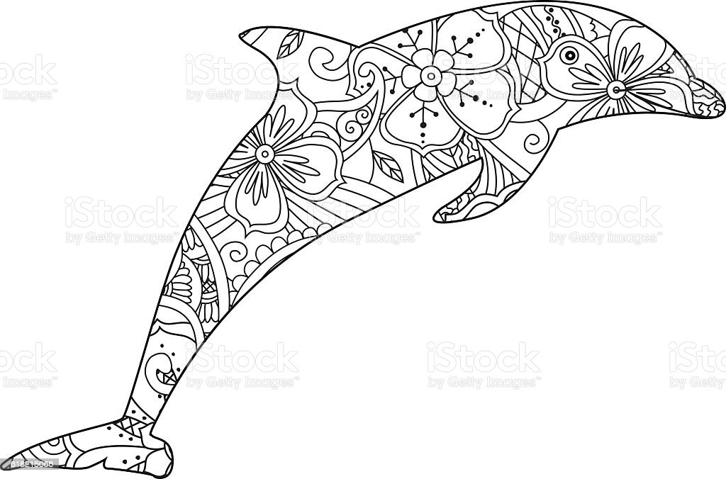 Coloring Page With Dolphin Isolated On White Background