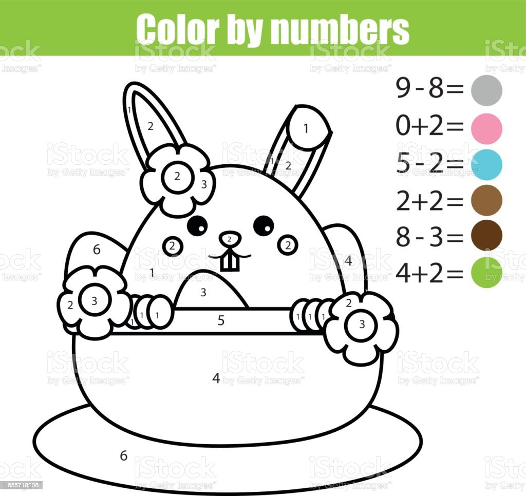 Coloring page with Easter bunny character. Color by numbers math educational children game, drawing kids activity. rabbit in busket with eggs vector art illustration