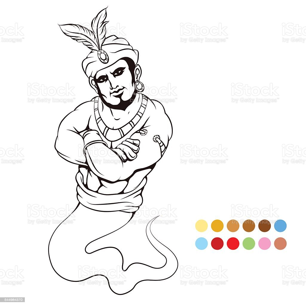 Coloring page with genie vector art illustration