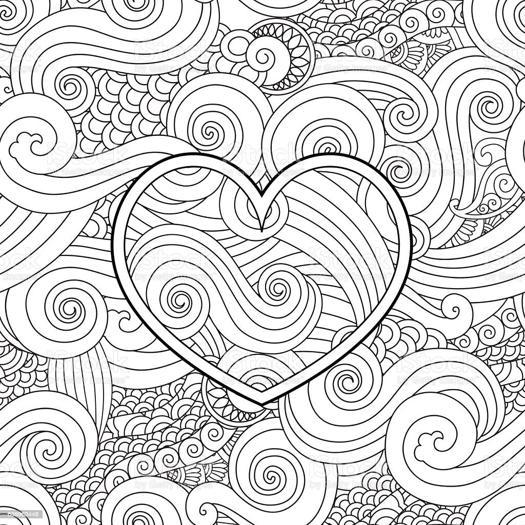 coloring page with heart and asian wave curl ornament happy stock
