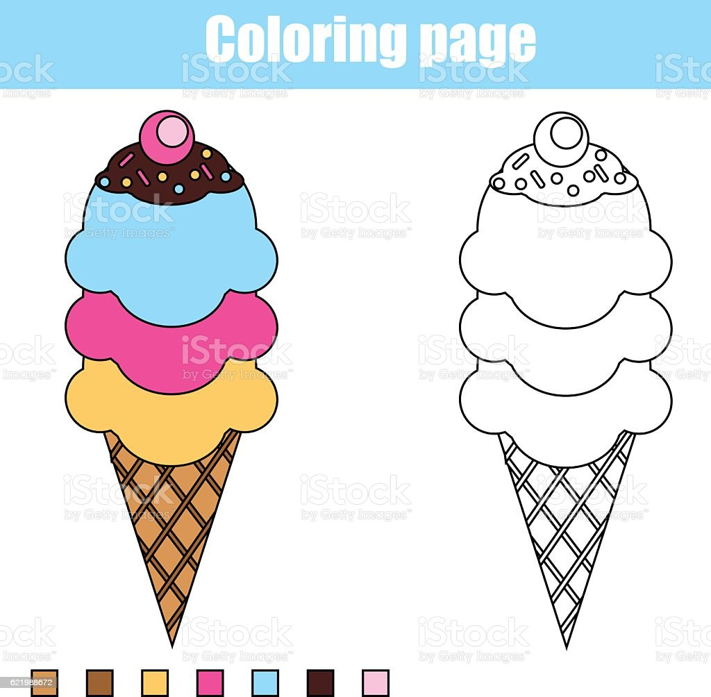 Coloring page with ice cream. Educational children game, printable drawing vector art illustration