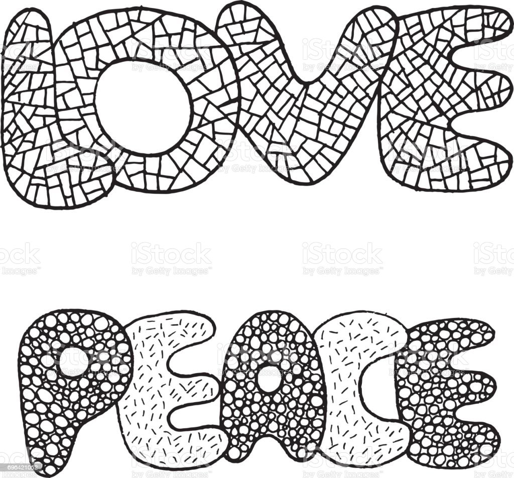 coloring page with love and peace word hand drawn black and white