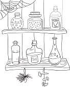 Coloring page with magic potion.