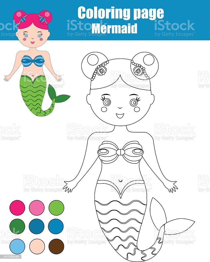 coloring page with mermaid children educational game kids activity