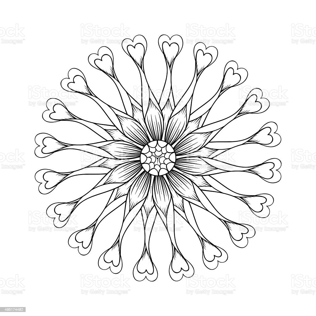 Coloring page with Osteospermum flowers, Flower Power Spider vector art illustration