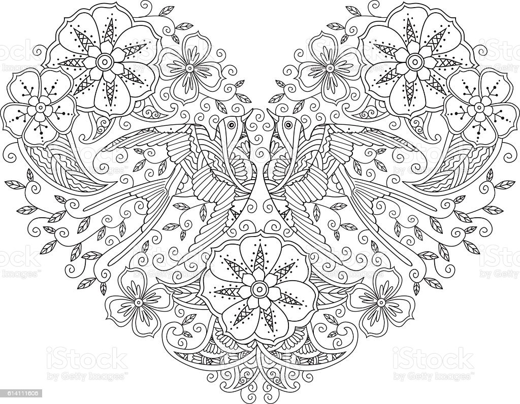 coloring page with pair of beautiful flying birds in heart stock