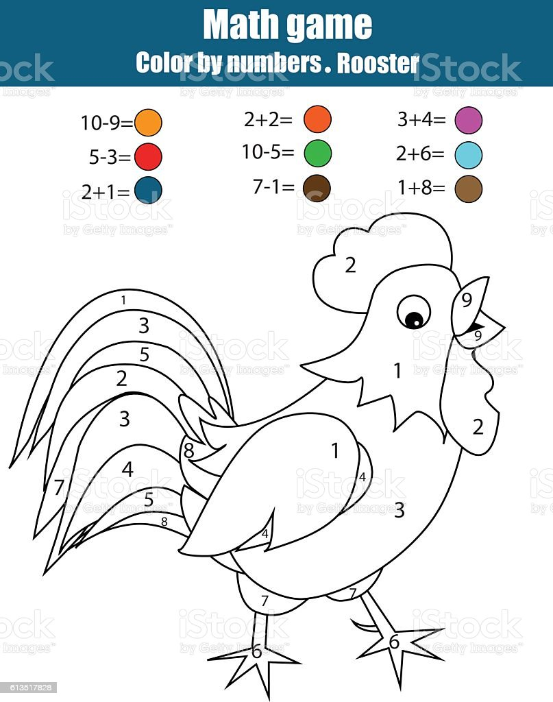 Coloring page with rooster. Color by numbers, mathematics educational game vector art illustration