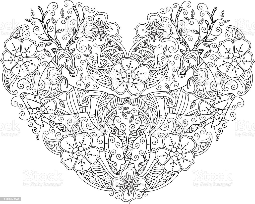 coloring page with running deer and floral circle stock vector art