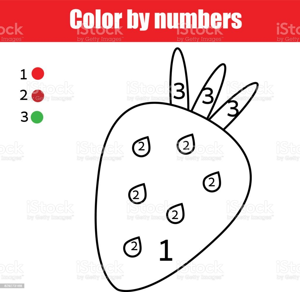 coloring page with strawberry color by numbers educational
