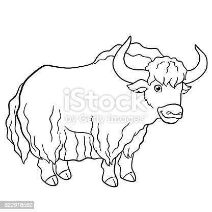 Coloring Pages Cute Beautiful Yak Smiles Stock Vector Art 822918592