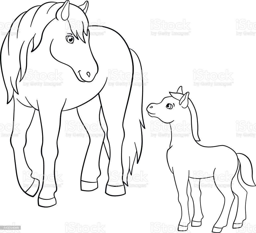 Farm animal horse coloring pages - Coloring Pages Farm Animals Mother Horse With Foal Royalty Free Stock Vector
